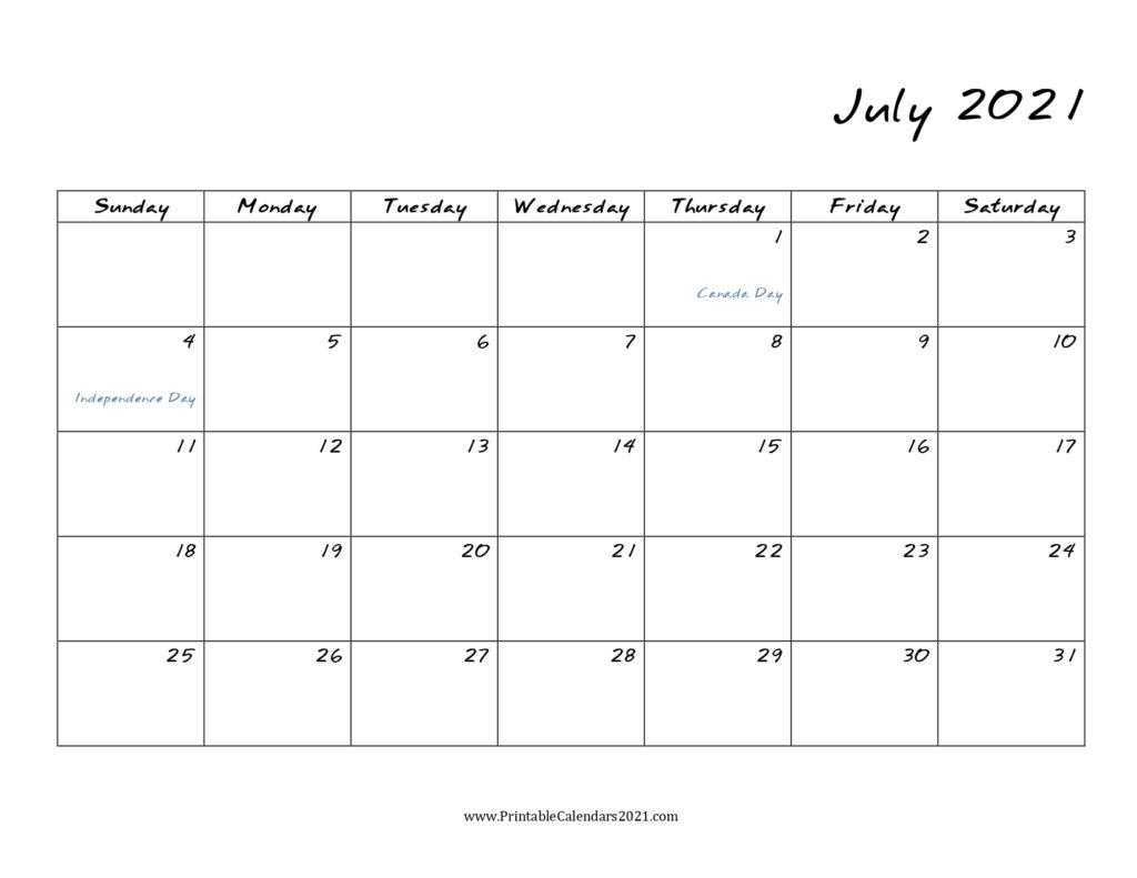 45+ July 2021 Calendar Printable, July 2021 Calendar Pdf inside Print Free July 2021 Calendar Without Downloading