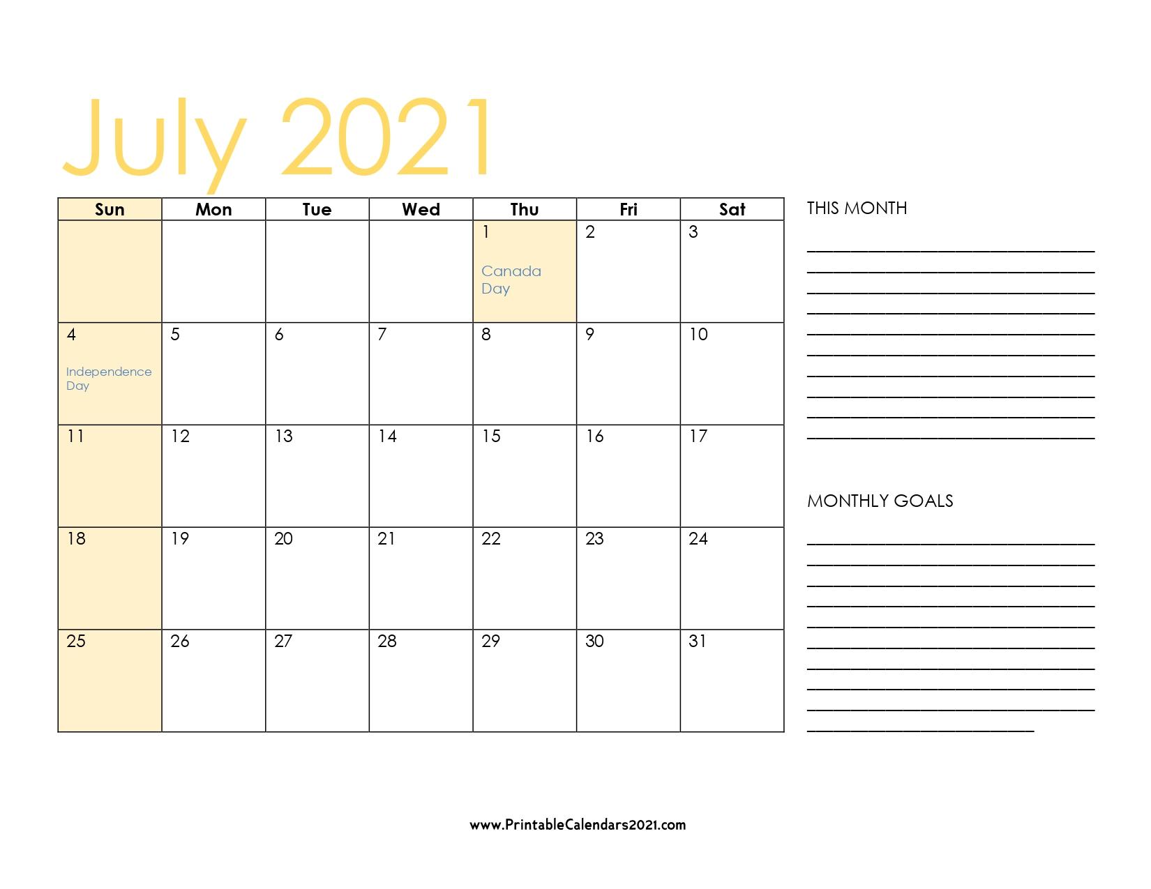 45+ July 2021 Calendar Printable, July 2021 Calendar Pdf throughout Print Free July 2021 Calendar Without Downloading