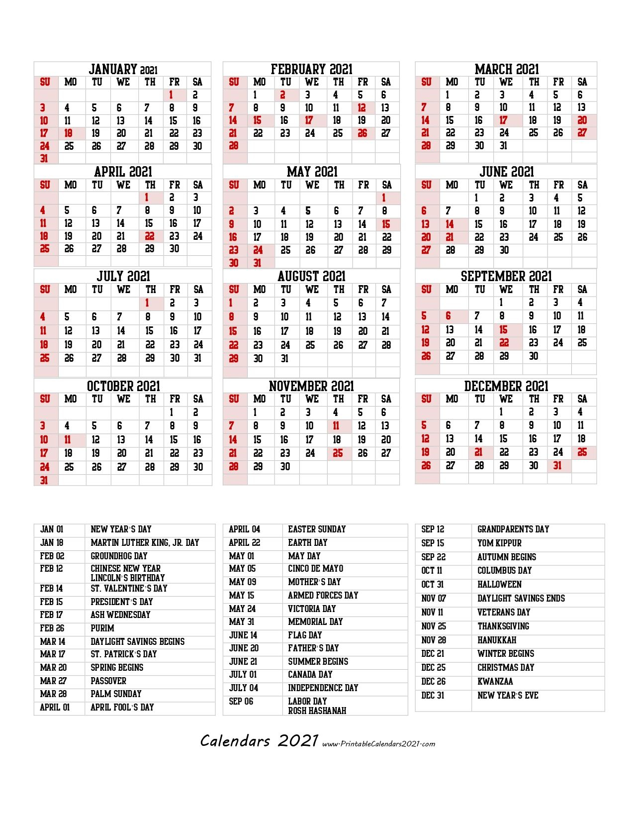 68+ Design Printable 2021 Calendar One Page With Holidays in Waterproof Calendars Printable 2021