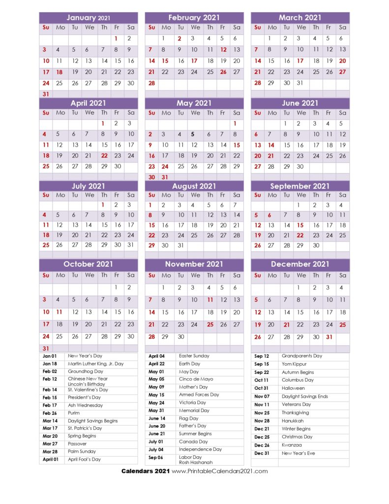 68+ Design Printable 2021 Calendar One Page With Holidays intended for 2021 Pocket Planner: Yearly Calendar