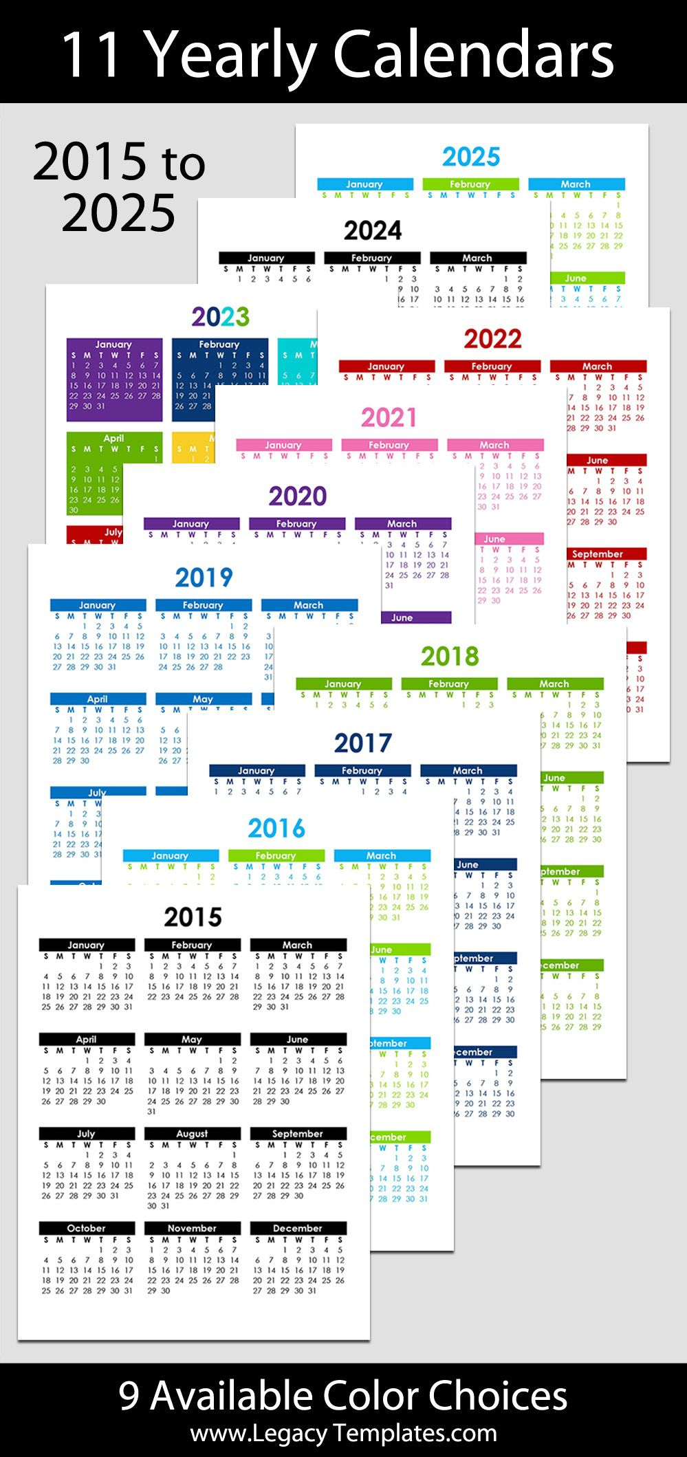 All Of The Available Colors For The 2015 To 2025 Printable for All Year Calendar