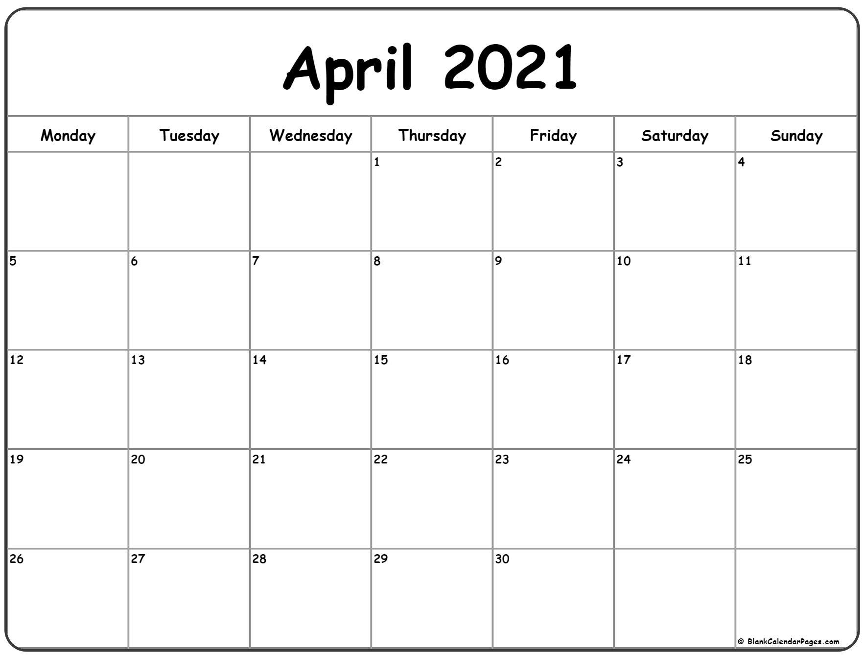 April 2021 Calendar Easter | Printable Calendars 2021 with regard to Printable Calendars 2021 Sunday To Saturday