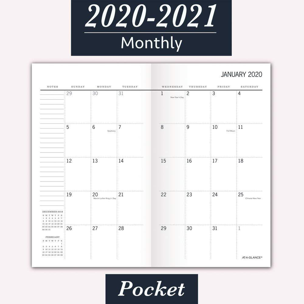 """At-A-Glance 2020-2021 Monthly Pocket Planner, 2 Year, 3-1/2"""" X 6"""", Pocket 
