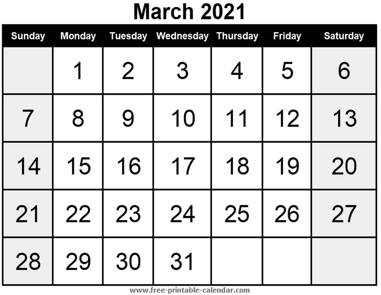 Blank Calendar March 2021 - Free-Printable-Calendar pertaining to Fill In Calendar 2021