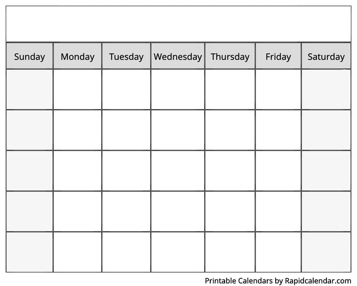 Blank Calendar - Rapid Calendar in Sunday Saturday Calendar Template
