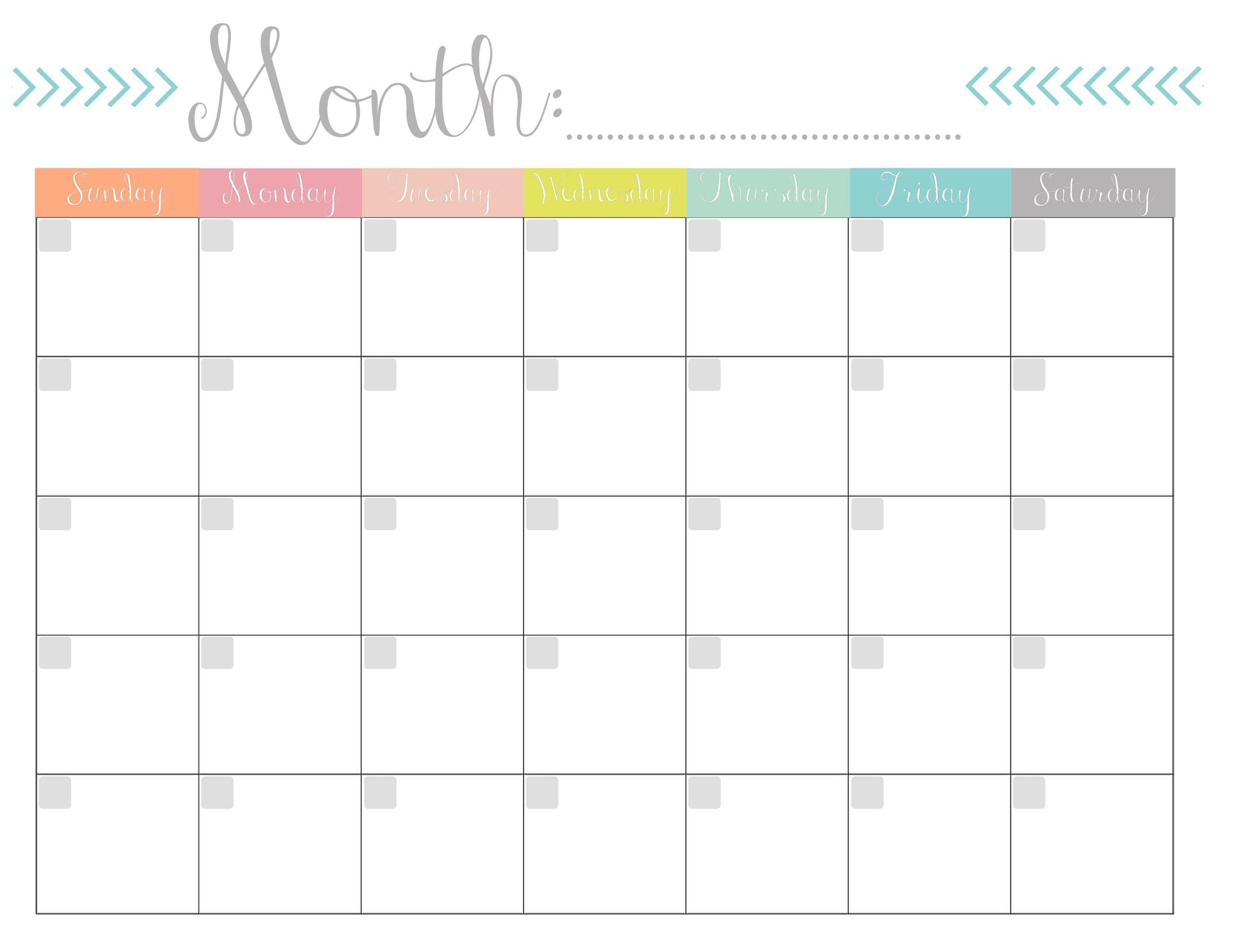 Blank Monthly Calendar Template To Fill In | Calendar with Free Fill In Calendar Template