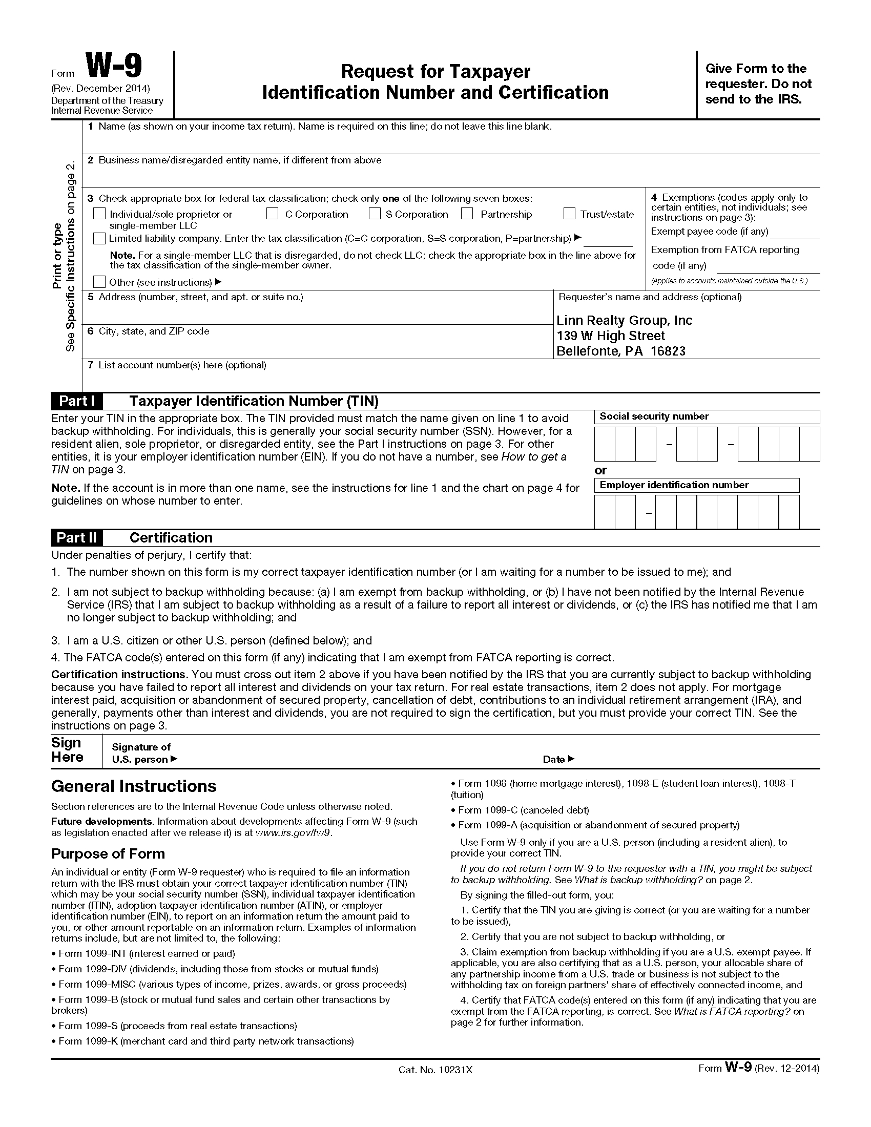 Blank W 9 2020 Form Printable | Example Calendar Printable within W 9 Blank Form
