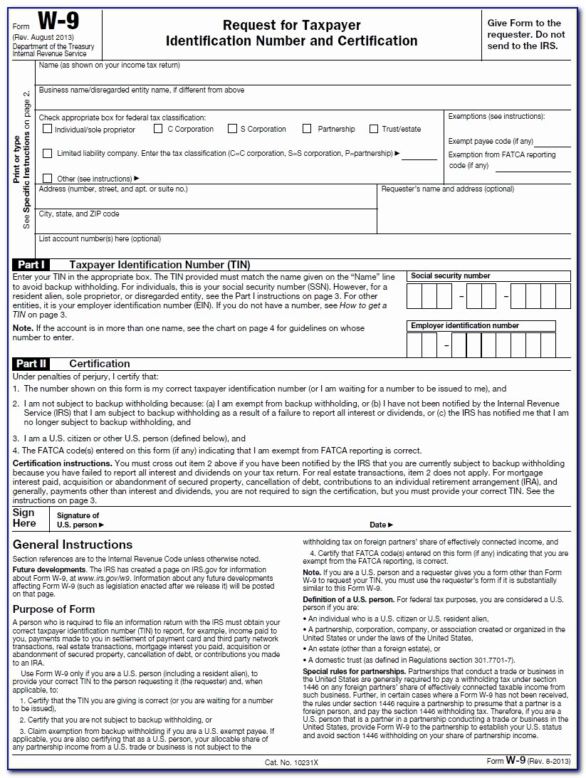 Blank W-9 Form 2020 Printable | Calendar Template Printable in W 9 Forms To Print