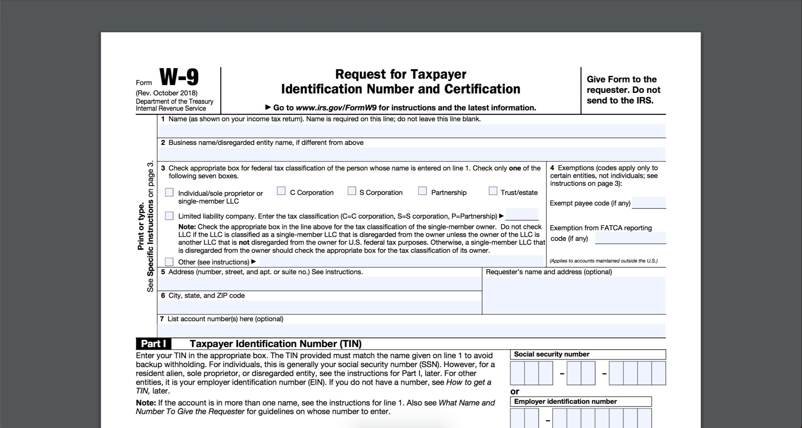 Blank W 9 To Print | Calendar Template Printable with Printable W-9 Form Free