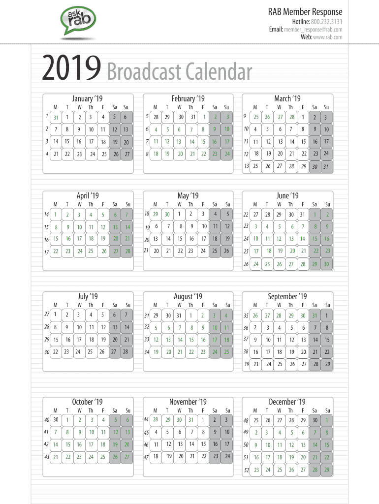 Broadcast Calendar 2019 - Fill And Sign Printable Template Online | Us Legal Forms within Calendar To Fill Online