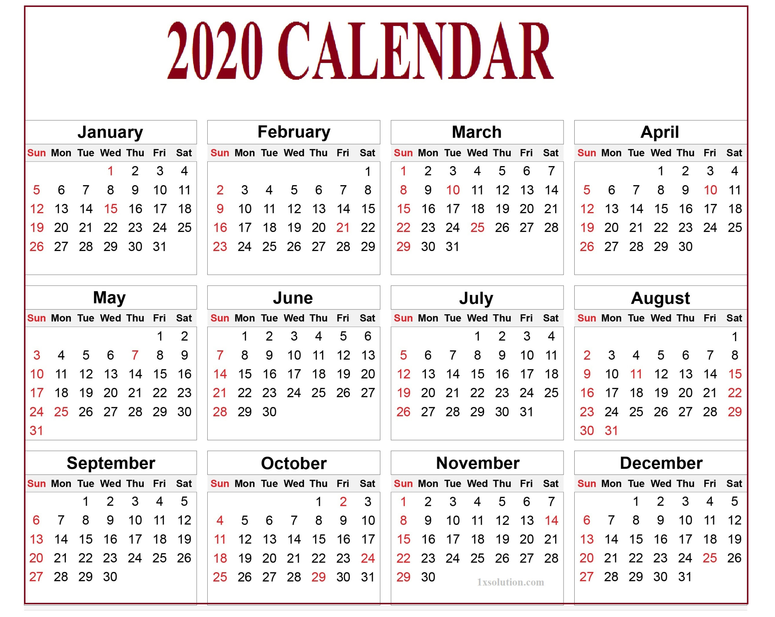 Calendar 2020 Pdf For Mark Your Daily Class     Calendar regarding All Year Calendar