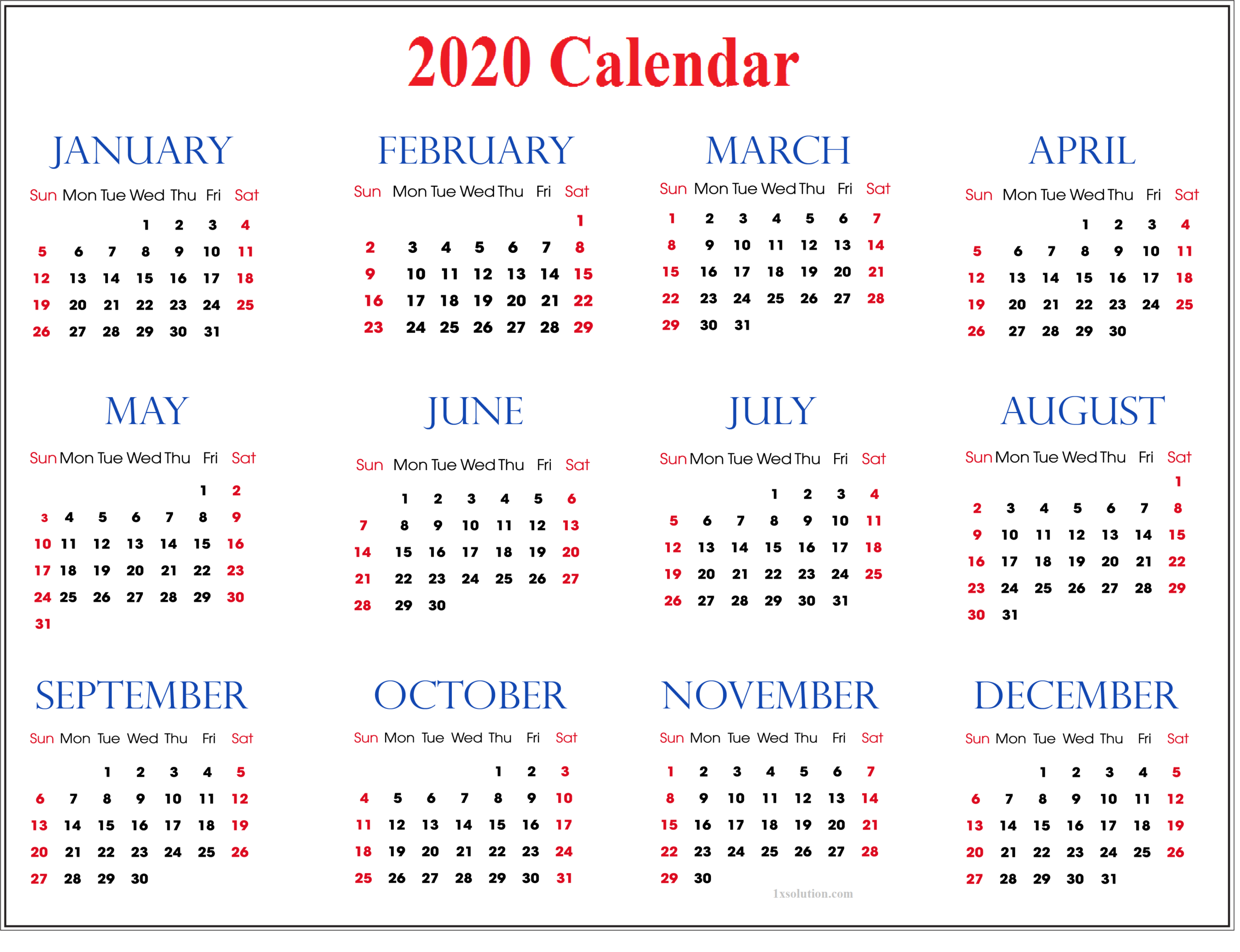 Calendar 2020 With Holidays For All Country Event regarding All Year Calendar