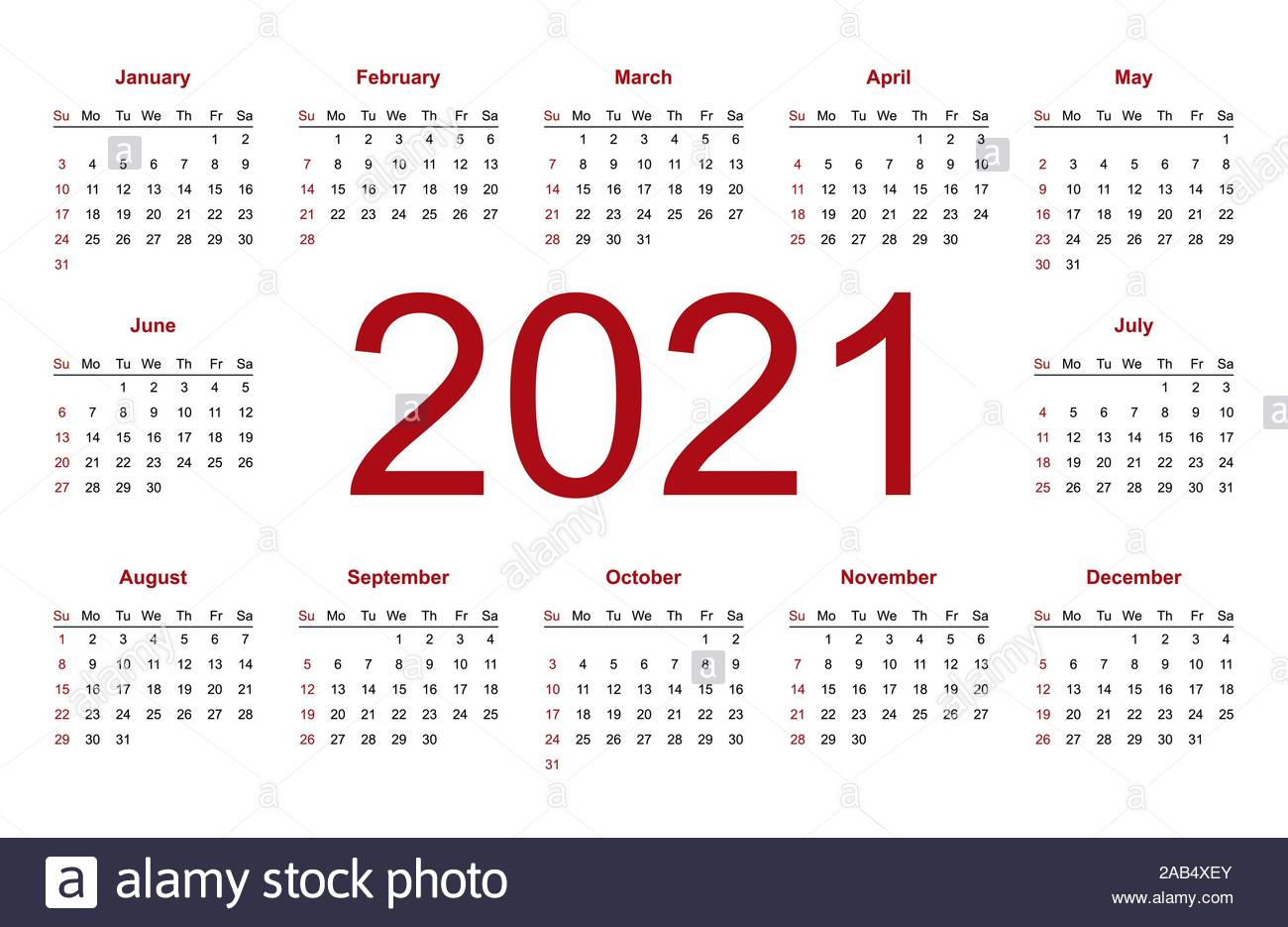 Calendar 2021 Year Vector Design Template. Week Starts inside 2021 Pocket Planner: Yearly Calendar