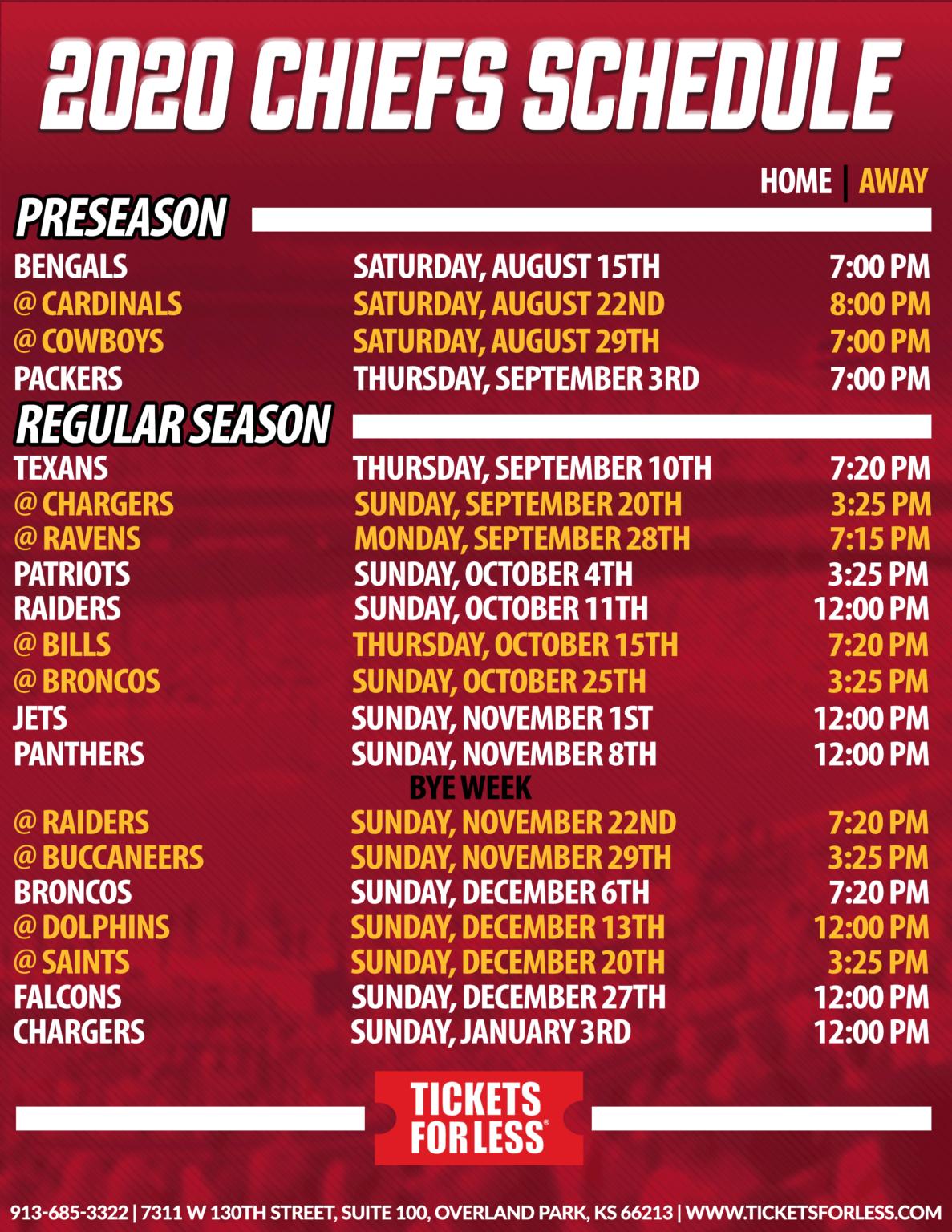 Chiefs Printable Schedule - Kansas City Chiefs Schedule in Nfl Printable Schedules 2021