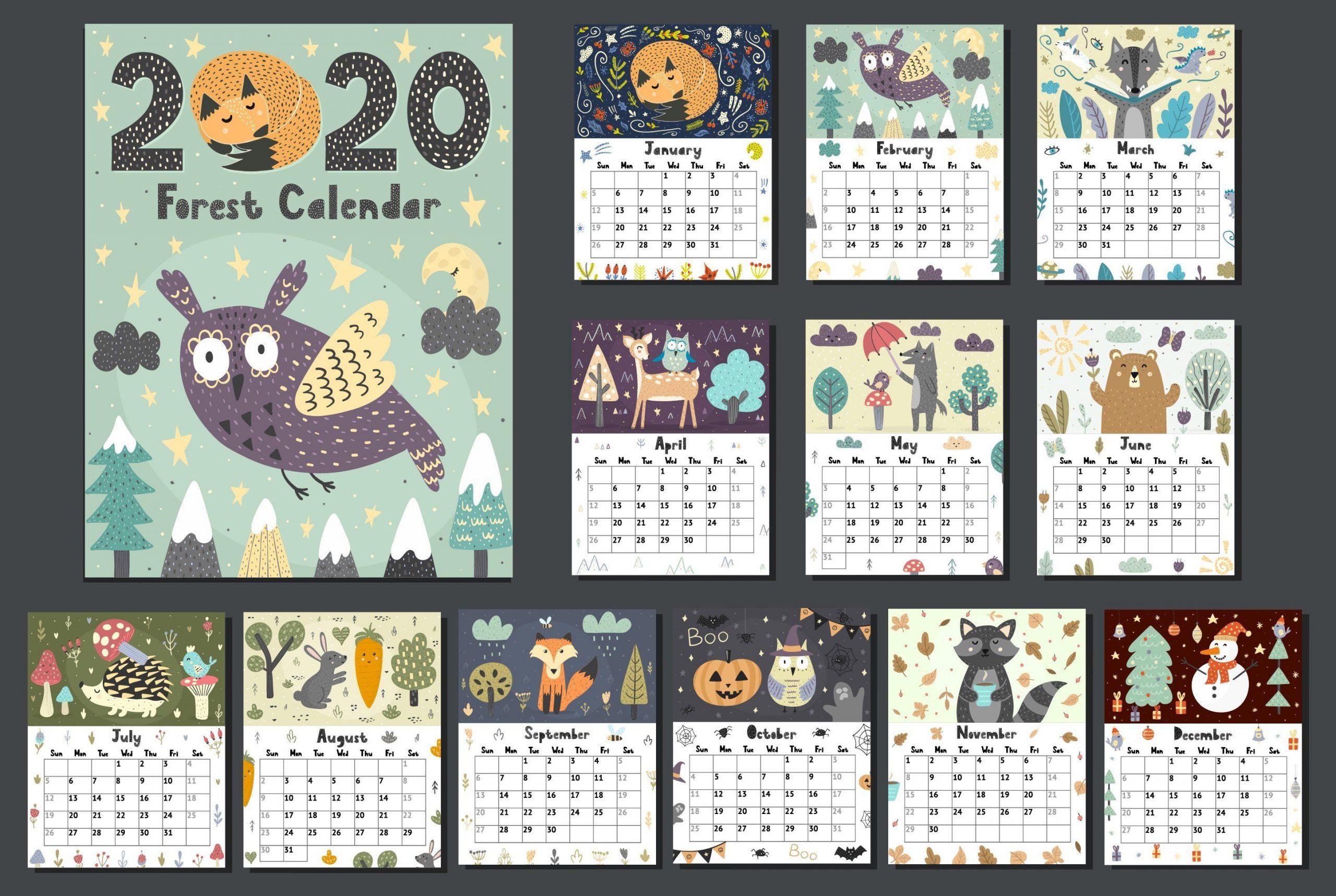 Collect Illistrated Calendar Template 2020 | Calendar pertaining to Sfa 2021 Calendar
