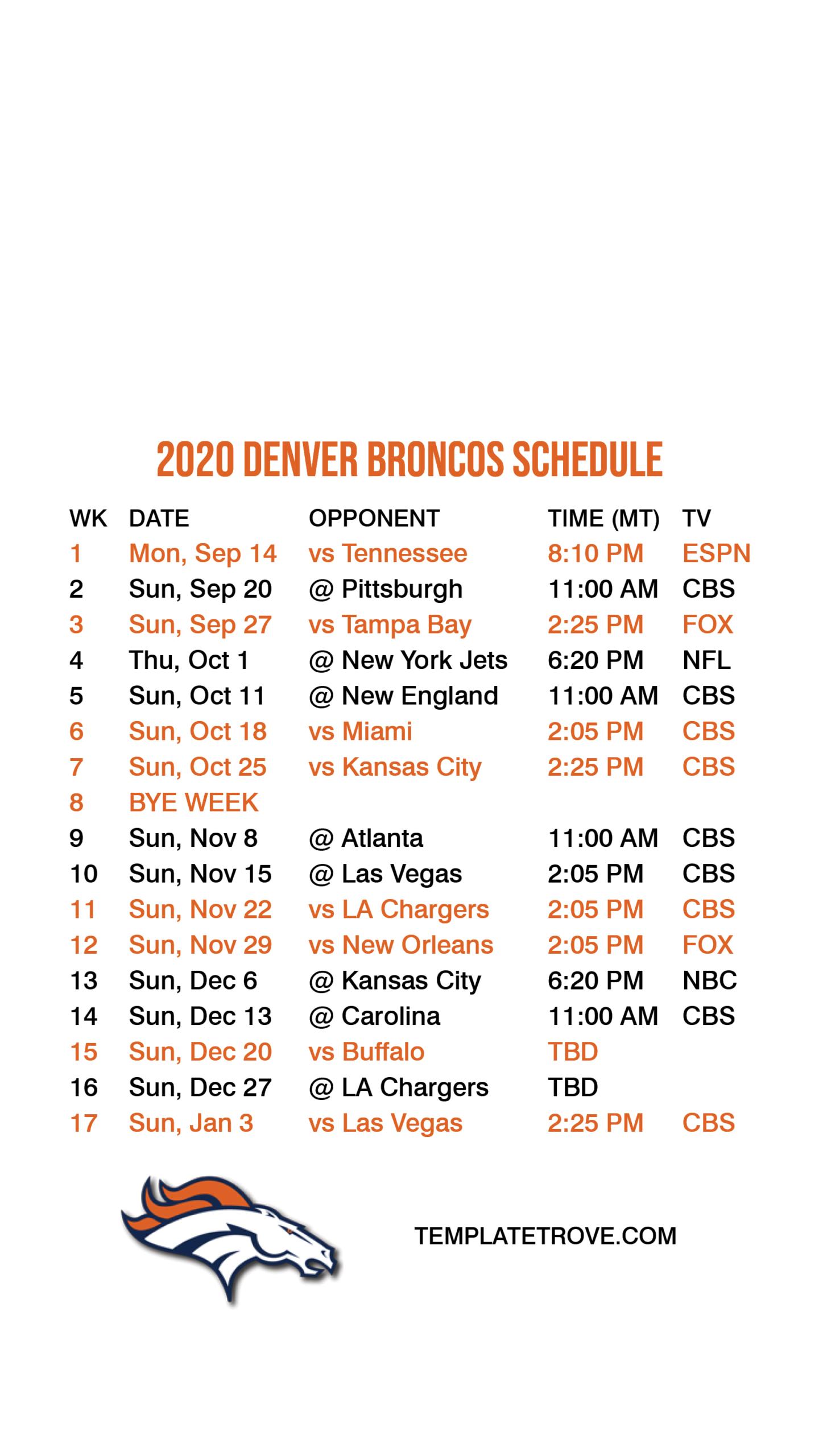 Denver Broncos 2021 Printable Schedule - Printableschedule for Nfl Printable Schedules 2021
