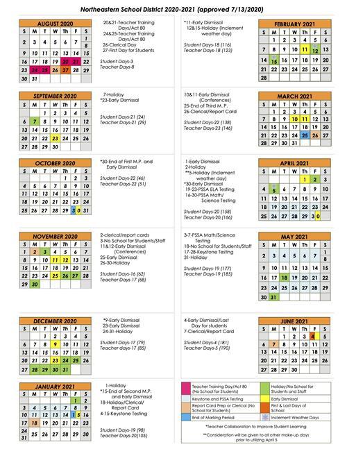 District Calendar / 2020-2021 Calendar (At A Glance) in Sfa 2021 Calendar