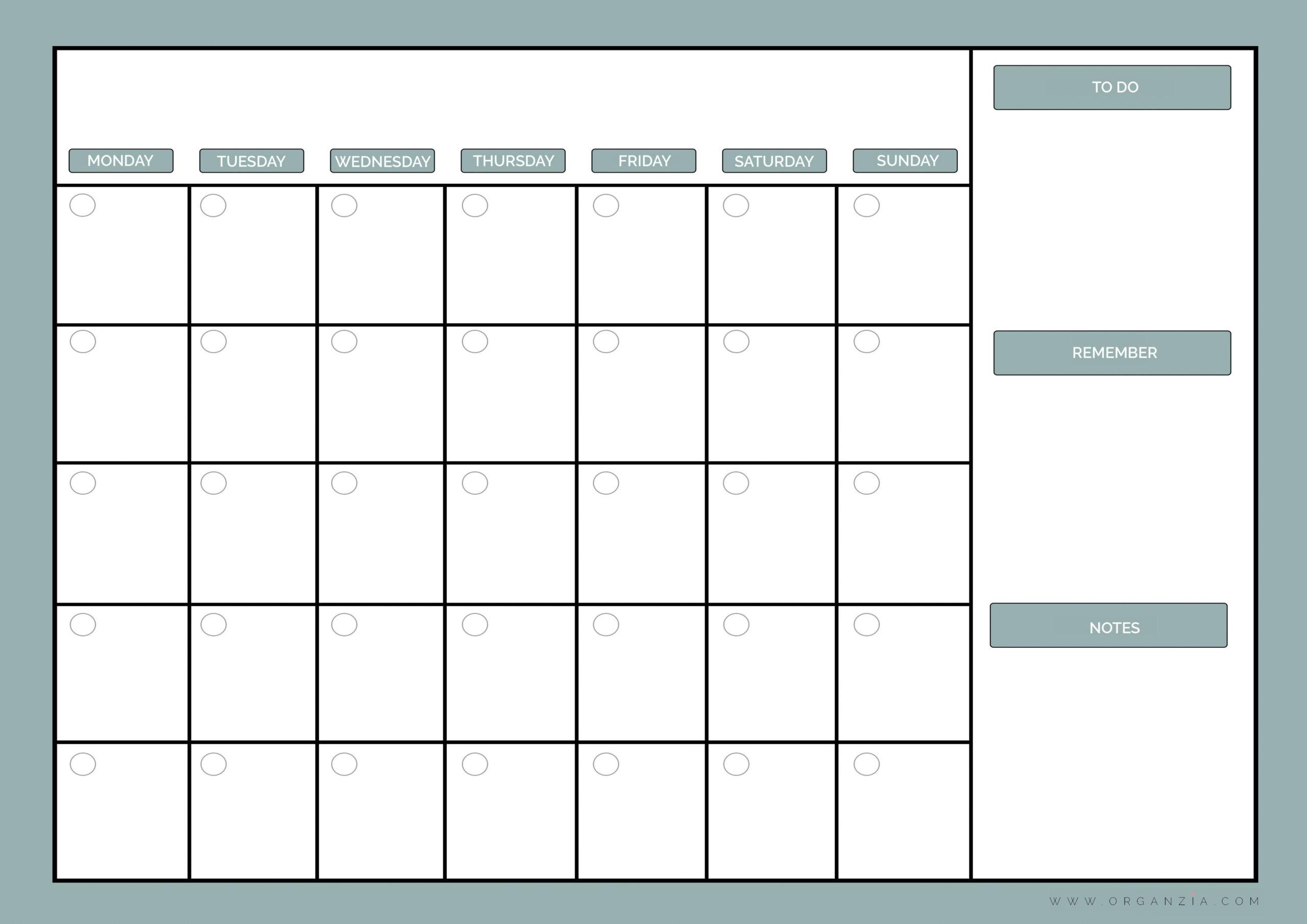 Diy Monthly Planner, Dry Erase Calendar + Free Printable in Printable Monthly Calendar Without Download