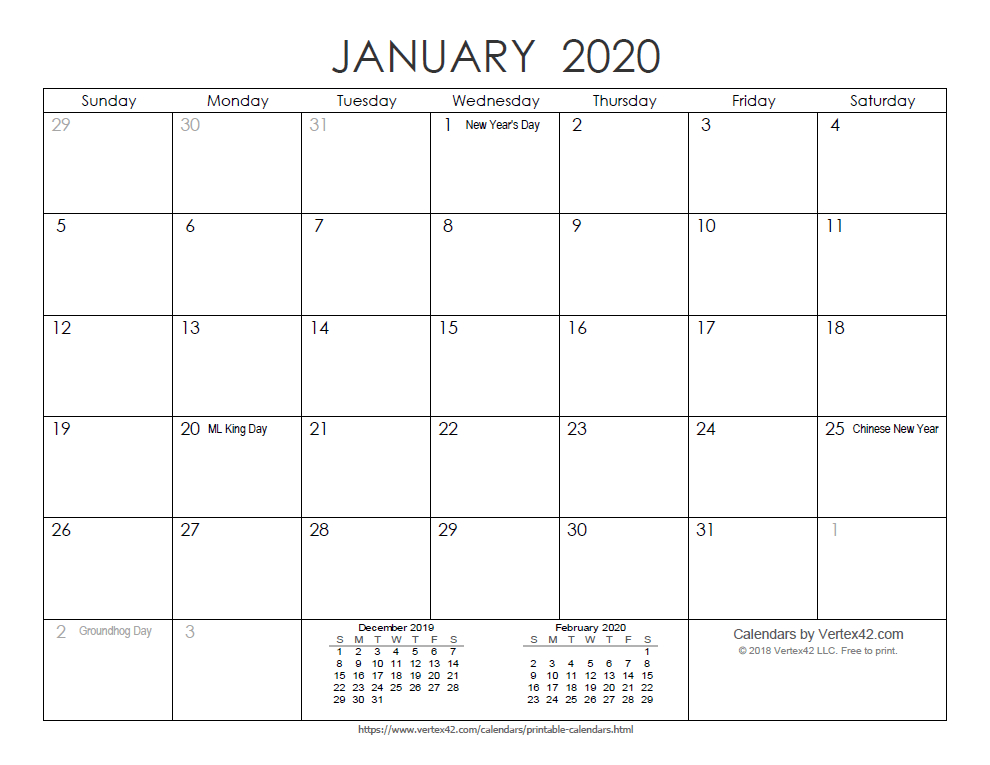 Download A Free Printable Ink Saver 2020 Calendar From pertaining to Vertex Yearly Calendar