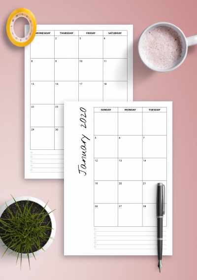 Download Printable Monthly Calendar With Notes Pdf throughout Printable Monthly Calendar Without Download