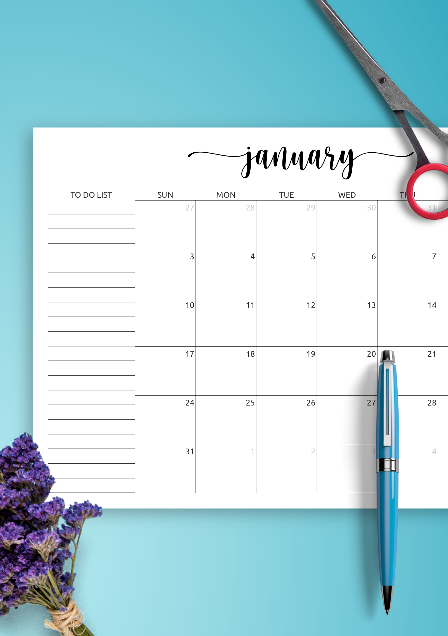 Download Printable Monthly Calendar With To-Do List Pdf for Printable Monthly Calendar Without Download