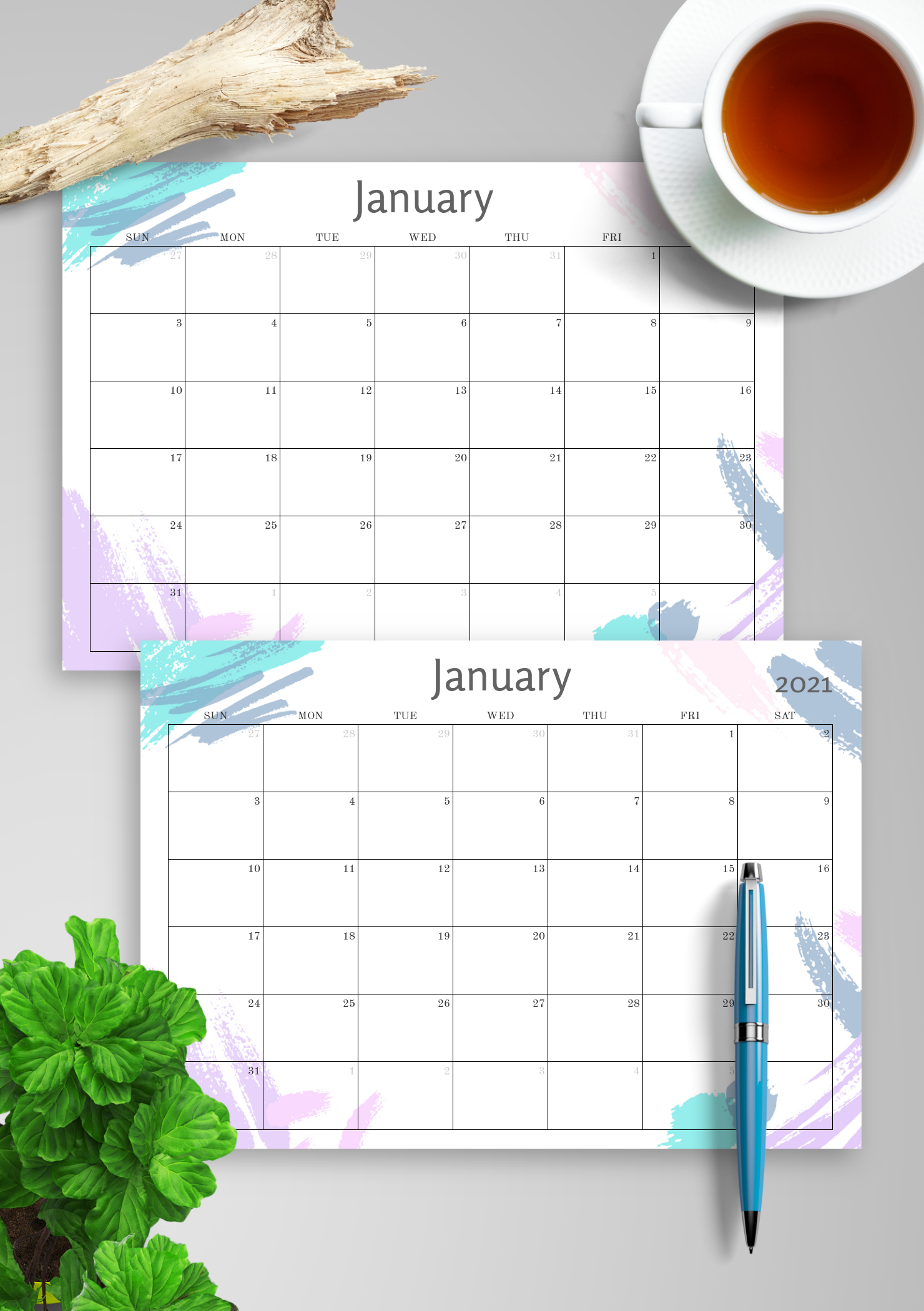 Download Printable Simple Colored Monthly Calendar Pdf for Printable Monthly Calendar Without Download