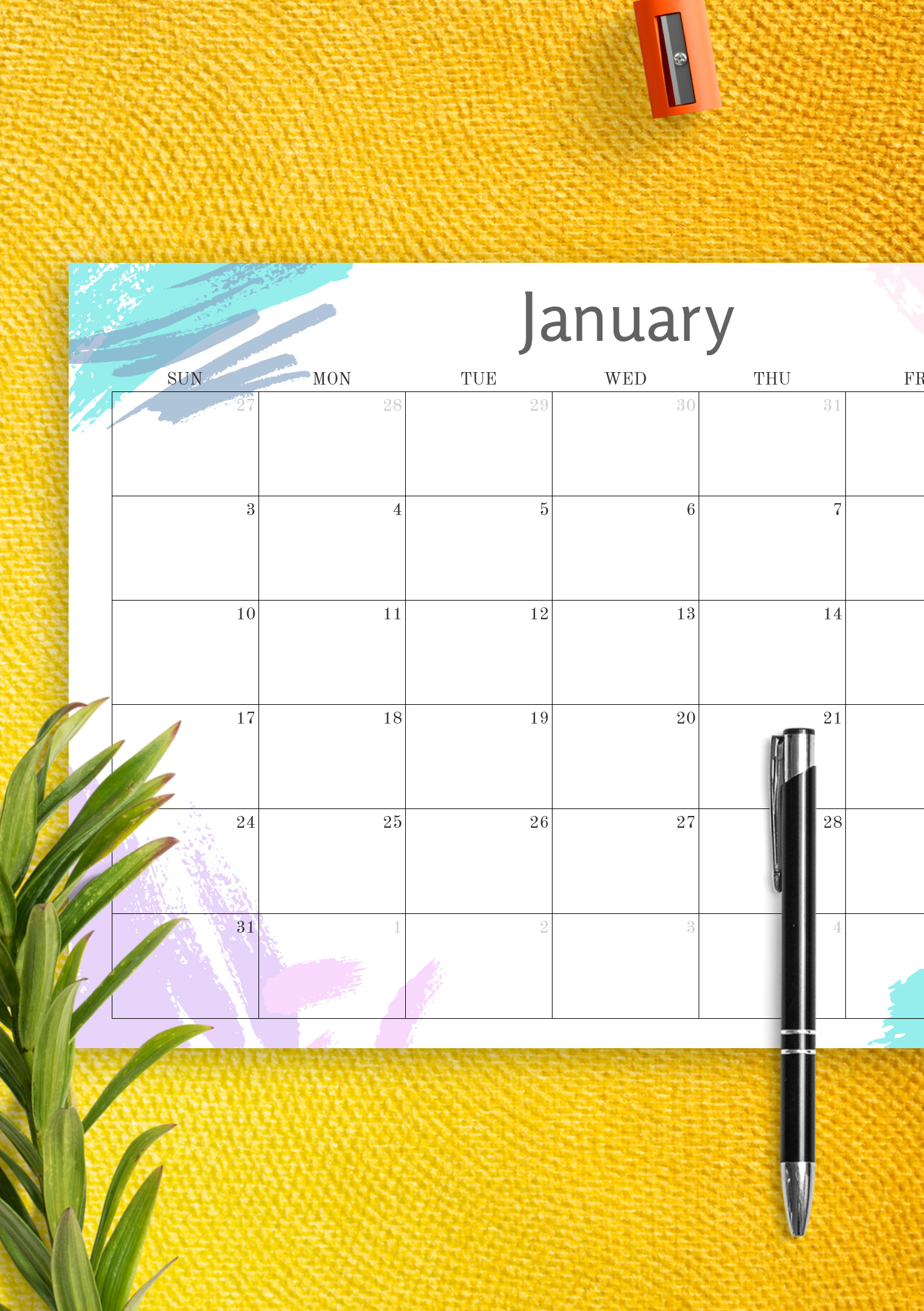 Download Printable Simple Colored Monthly Calendar Pdf with regard to Printable Monthly Calendar Without Download