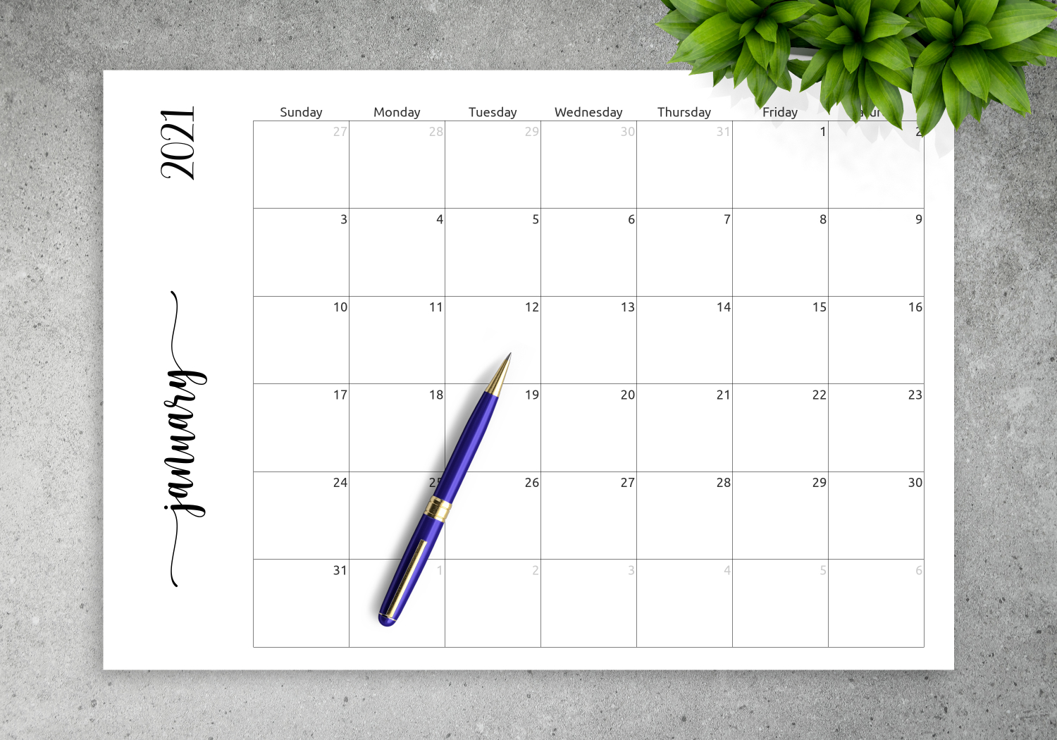 Download Printable Simple Monthly Calendar Horizontal Pdf in Printable Monthly Calendar Without Download