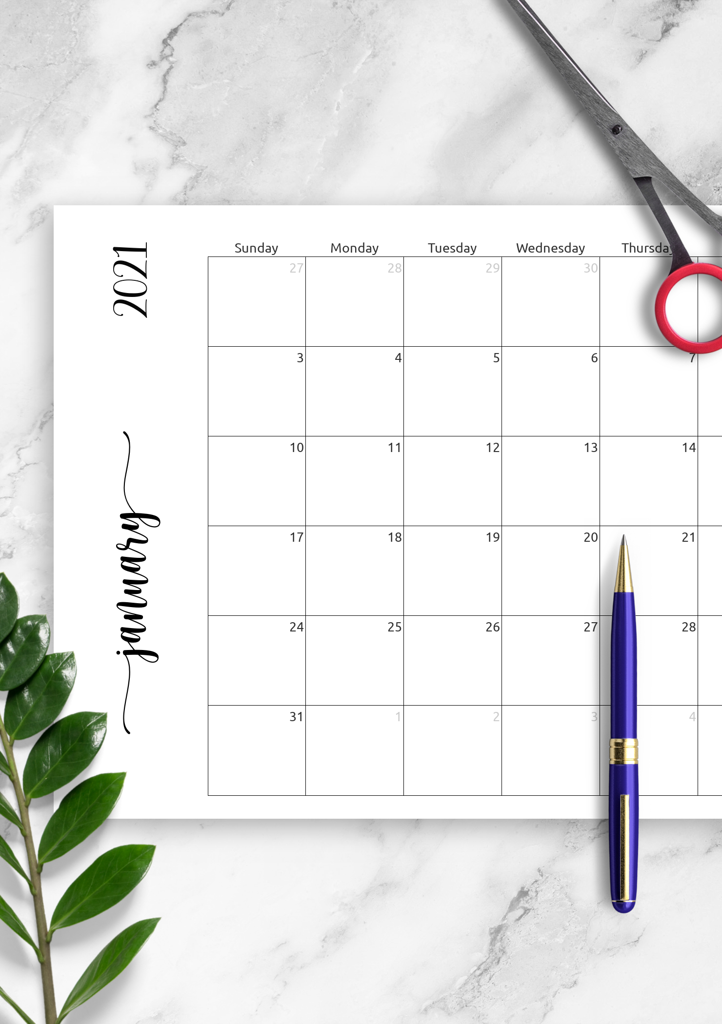 Download Printable Simple Monthly Calendar Horizontal Pdf throughout Printable Monthly Calendar Without Download