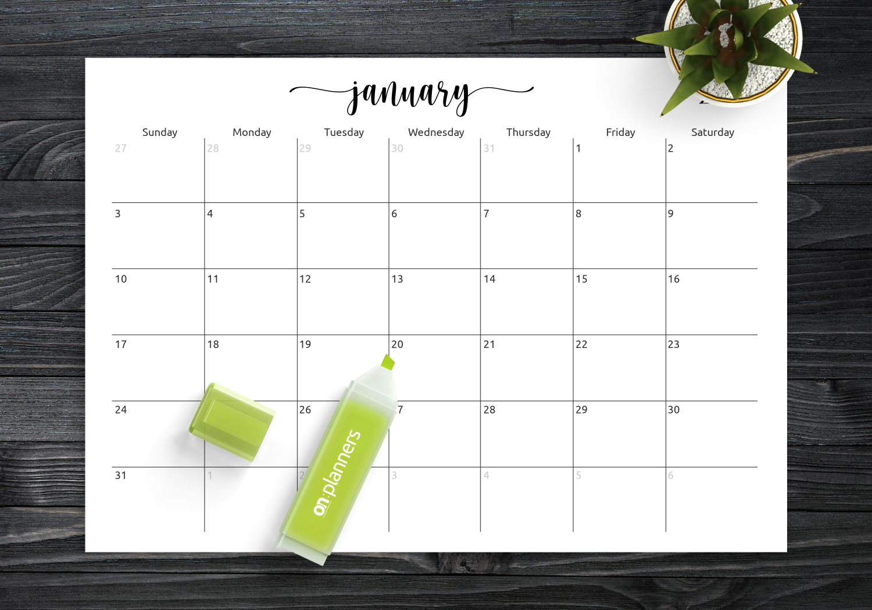 Download Printable Spacious Monthly Calendar Grid Pdf with Printable Monthly Calendar Without Download
