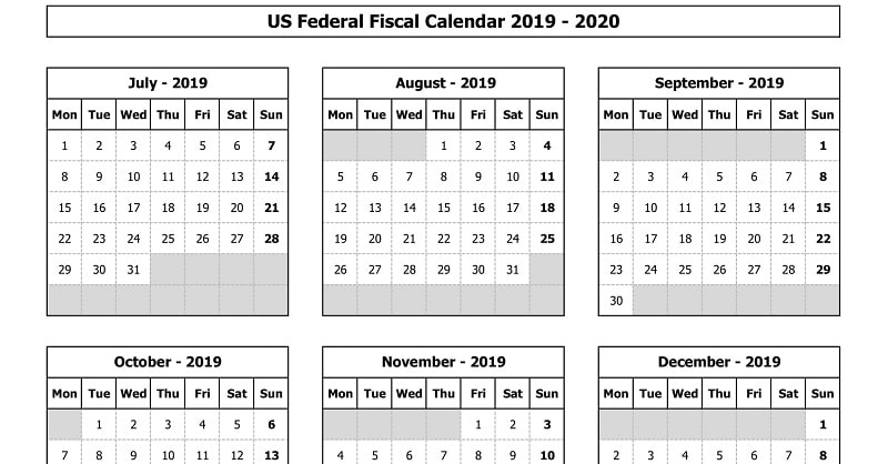 Download Us Federal Fiscal Calendar 2019-20 Excel Template - Exceldatapro inside Federal Government Calendar