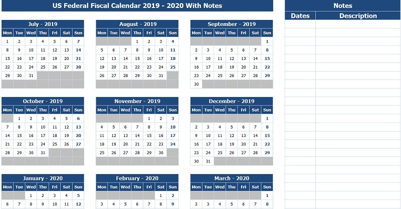 Download Us Federal Fiscal Calendar 2019-20 With Notes Excel Template - Exceldatapro within Federal Government Calendar