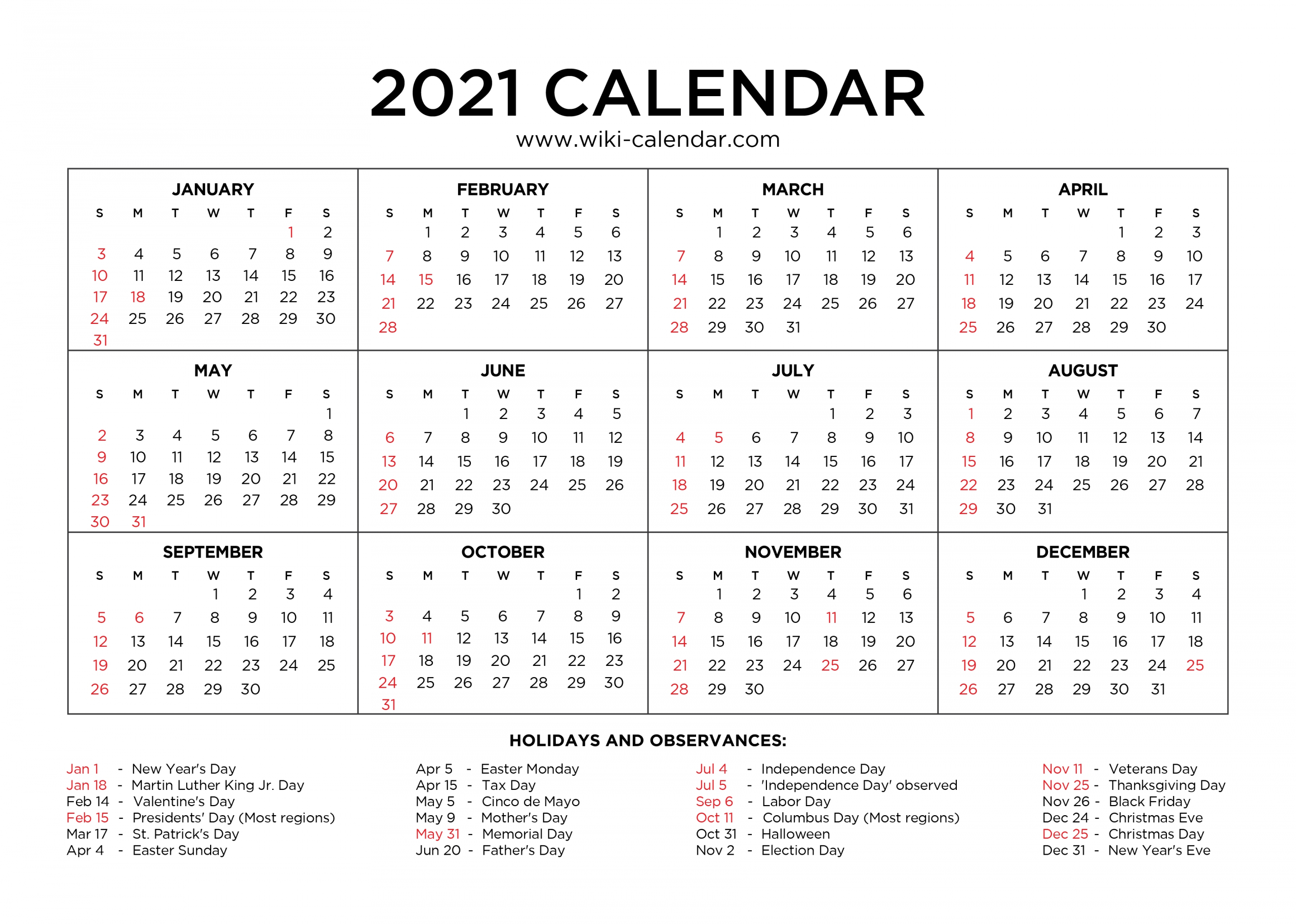 Effective Free Downloadable 2021 Calendar | Get Your throughout Printable Calendars 2021 Sunday To Saturday