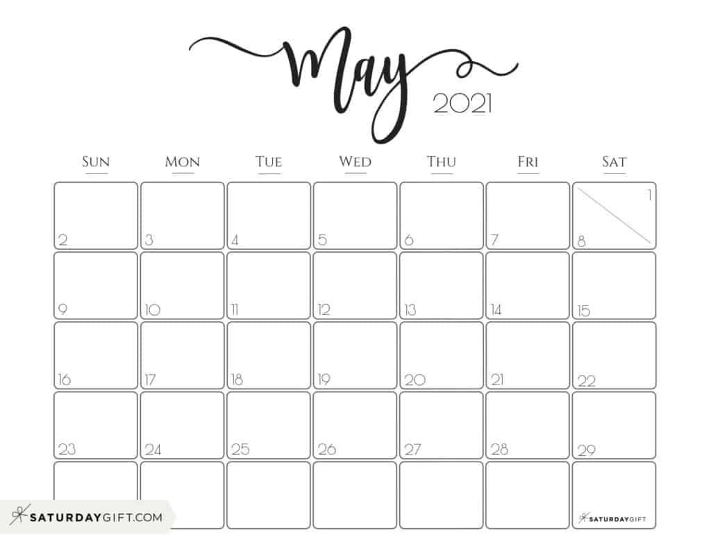 Elegant 2021 Calendarsaturdaygift - Pretty Printable with regard to Printable Calendars 2021 Sunday To Saturday