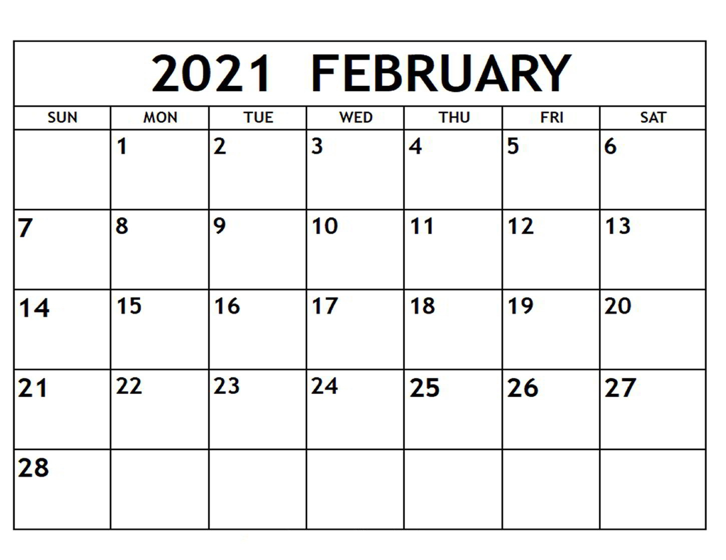 February 2021 Calendar Printable With Holidays - Free within Fill In Calendar 2021