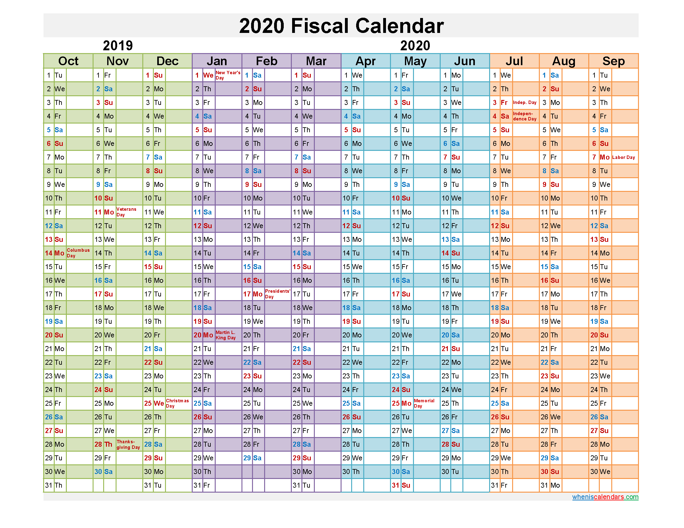 Federal Fiscal Year 2020 Calendar - Template No.fiscal20Y23 - Free Printable 2020 Monthly in Federal Government Calendar
