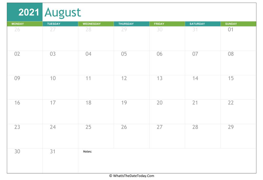 Fillable August Calendar 2021 | Whatisthedatetoday regarding Fill In Calendar 2021