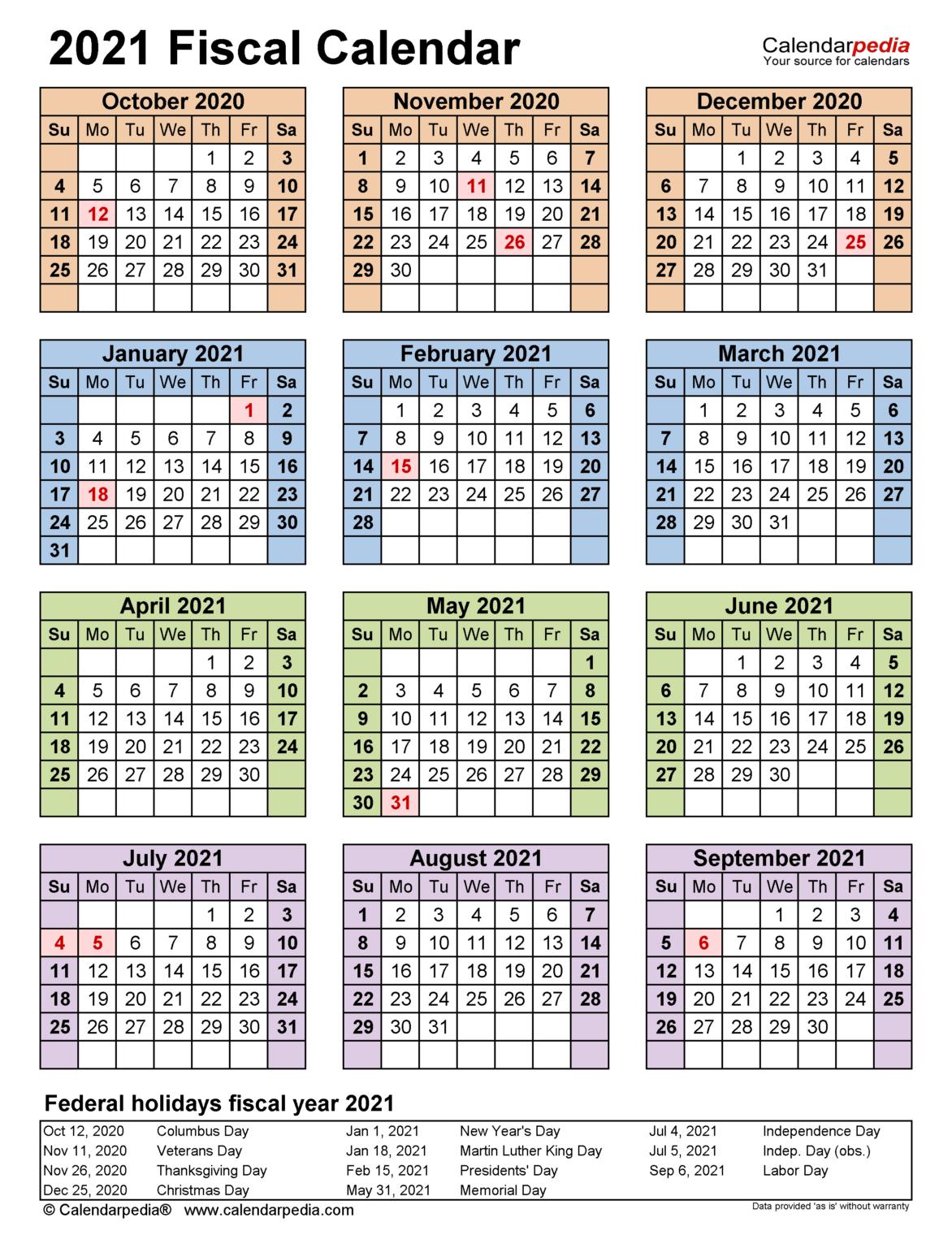 Fiscal Calendars 2021 - Free Printable Pdf Templates In Federal Government Calendar 2021 in Federal Government Calendar