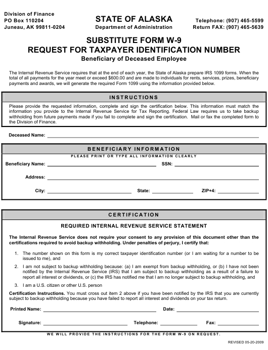 Form W-9 Download Fillable Pdf Or Fill Online Substitute intended for Pdf W 9 Form