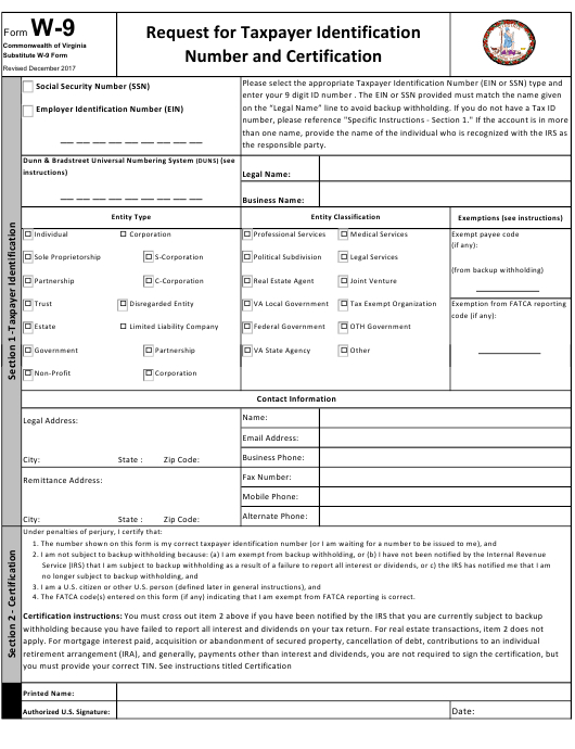 Form W-9 Download Fillable Pdf Or Fill Online Substitute W with regard to Pdf W 9 Form
