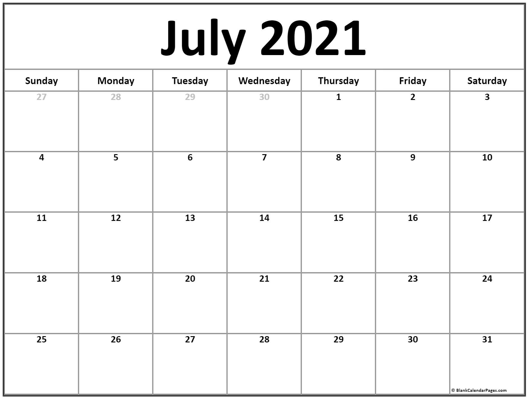 Free 2021 Printable Calendar July Canada Monthly | Month throughout Print Free July 2021 Calendar Without Downloading