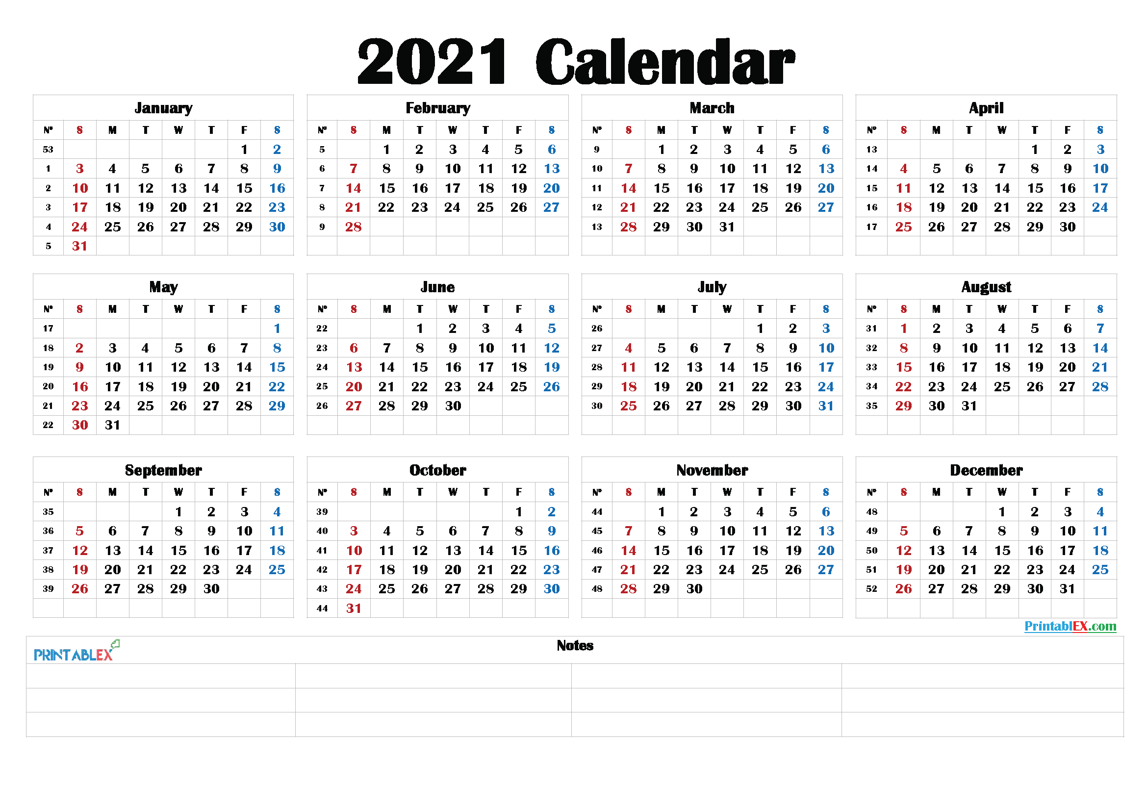 Free 2021 Yearly Calender Template : 2021 Printable Yearly within Free Fillable Calendar 2021
