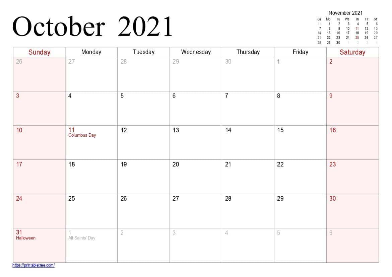 Free Download October 2021 Printable Calendar Pdf Templates intended for Calendar 2021 October Fill In
