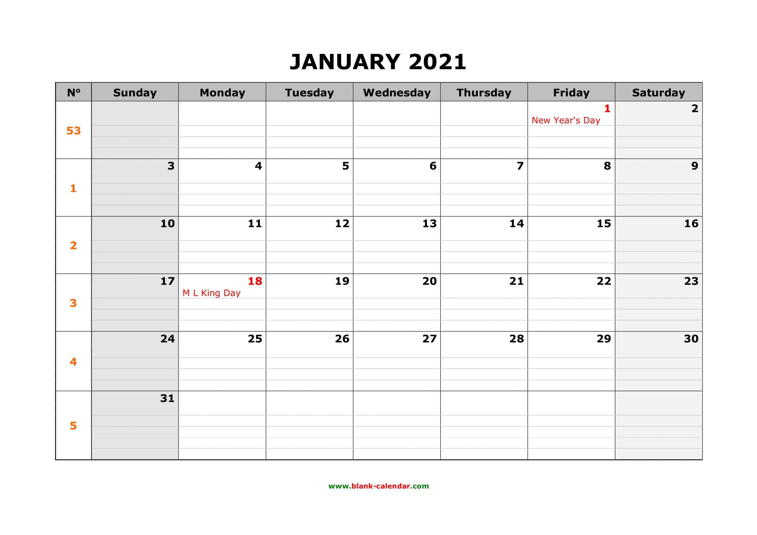 Free Download Printable Calendar 2021 Large Box Grid intended for Blank 2021 Calendar Printable Free