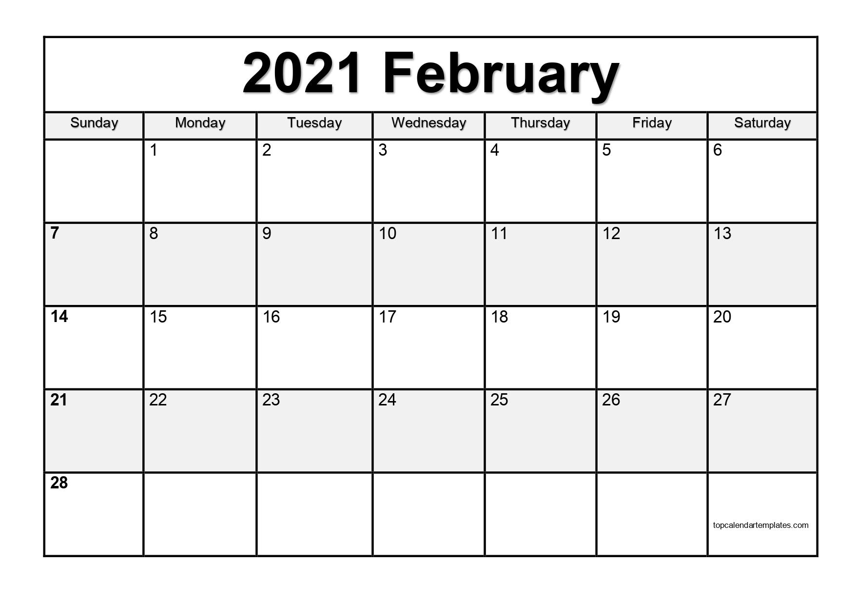 Free February 2021 Calendar Printable (Pdf, Word) within Free Fillable Calendar 2021