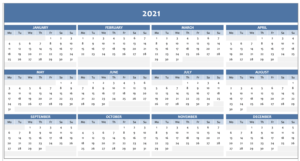 Free Full Year Calendar For 2021 [Excel Template] for Fill In Calendar Printable 2021