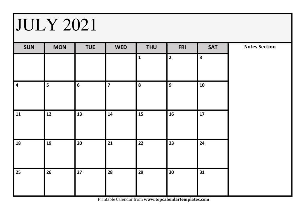 Free July 2021 Calendar Printable (Pdf, Word) Templates in Print Free July 2021 Calendar Without Downloading