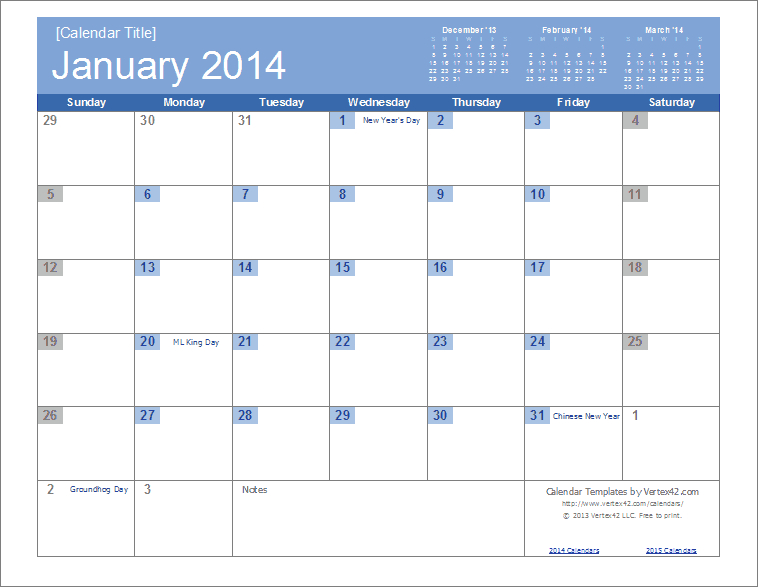 Free Monthly Planner Templates 2014 | 2014 Calendar pertaining to Vertex Yearly Calendar