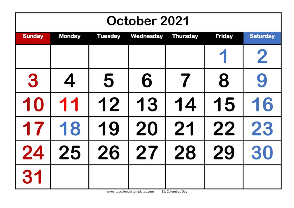 Free October 2021 Calendar Printable (Pdf, Word) Templates with Calendar 2021 October Fill In