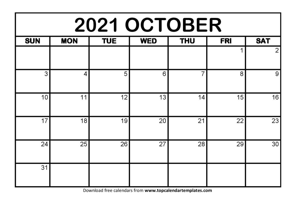 Free October 2021 Calendar Printable (Pdf, Word) Templates within Printable Calendars 2021 Sunday To Saturday